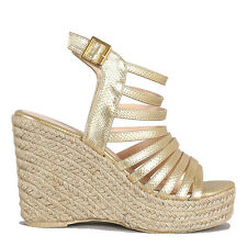 Qupid Gold Snake Jute Platform Wedge Open toe Espadrille Women's shoes Deb-02
