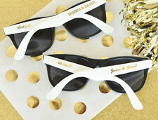 25 Personalized Sunglasses Metallic Gold White Black Wedding Shower Party Favor