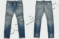BALMAIN 1485$ Authentic New Skinny Blue Knee Rip Japanese Biker Jeans FW16/17