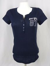 NEW Aeropostale Women's Navy Blue Light Thermal Embroidered Henley Shirt