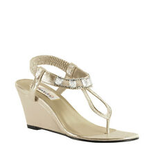 Dyeables Mila Champagne Prom Bridal Wedge Sandal Beach Summer Women's Shoes
