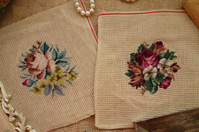 Vintage Handmade Roses Floral Whole Petit Point Preworked Needlepoint Canvas