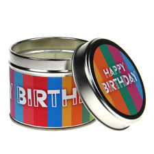 New In-Scents Fragrant Gift Happy Birthday Striped Tin Candle - Various Scents