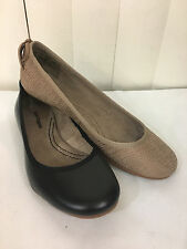 Hush Puppies Bueno Black/Tan Leather Loafers Flat Moccasins Size 6-10WIDE