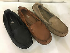 Hush Puppies Ceil Black/Tan/Taupe Leather Loafers Flat Moccasins Size 6-11WIDE