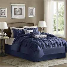 BEAUTIFUL 7-PC MODERN NAVY WHITE TEXTURED COMFORTER SET CAL. KING QUEEN KING