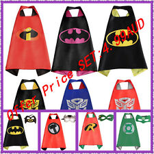 Boys Girls Superhero Cape +Mask Superman Batman Spiderman Batgirl Frozen hot hot