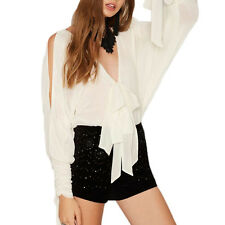 Sexy Women White Chiffon Batwing Sleeve Romper Jumpsuit Cold Shoulder Top Shirt