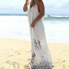 Womens Beach Dress Casual Loose Backless Lace Straps Maxi Long Dress White
