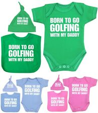 Baby Clothes Born To Play GOLF Daddy 3 Piece Bodysuit Bib & Hat Shower Gift Set