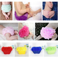 Solid Color Petti Lace Ruffled Ruffle Bloomer Baby Girl Diaper Cover Panty Pants