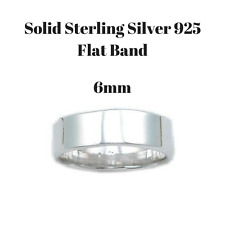 Flat Wedding Ring Plain Band 6mm In Solid Sterling Silver 925 Mens Or Womens New