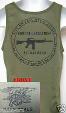 NAVY SEAL TANK TOP/ AFGHANISTAN COMBAT OPS/ OD GREEN/ MILITARY/  NEW