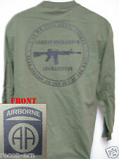 82nd AIRBORNE LONG SLEEVE T-SHIRT/ AFGHANISTAN COMBAT OPS / MILITARY/   NEW