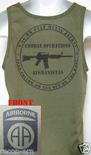 82ND AIRBORNE od green TANK TOP T-SHIRT/ AFGHANISTAN COMBAT OPS / MILITARY/  NEW