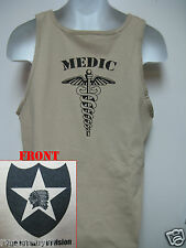 2nd I.D. TANK TOP/ T-SHIRT/ MEDIC/ COMBAT / MILITARY TAN / ARMY / NEW