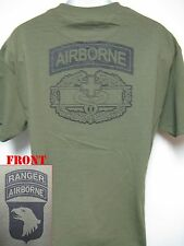 101ST AIRBORNE RANGER T-SHIRT/ COMBAT MEDIC BADGE/ ARMY T-SHIRT/ MILITARY/ NEW
