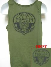 PARARESCUE TANK TOP/ SILK SCREEN PRINTED/ OD GREEN TANK TOP/ NEW