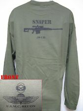 USMC RECON LONG SLEEVE T-SHIRT/ .50 CAL SNIPER/ MILITARY/  NEW