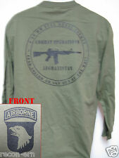 101 AIRBORNE LONG SLEEVE T-SHIRT/ AFGHANISTAN COMBAT OPS / MILITARY/ ARMY / NEW