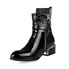 Black Patent Pointed Toe Boots Shiny Fall Winter Ankle Booties Zipper Women