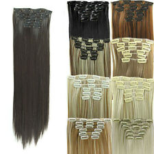 "Natural 24"" THICK DELUXE CLIP IN REMY HUMAN HAIR EXTENSIONS Brown Blonde Black"