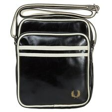 New Mens Fred Perry Black Classic Mini Pvc / Cotton Trim Cross Body Bag Flight