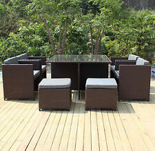 9pc PE Wicker Rattan Indoor Outdoor Dining Garden Setting Black Brown GRAY Set