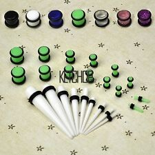 New 23 Pcs Ear Taper+ PLUG Kit 14G-00G 1.6mm-10mm Gauges Expander K