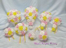 WEDDING FLOWERS BRIDE B/MAID F/GIRL BOUQUET CORSAGE PACKAGE LIGHT PINK +YELLOW