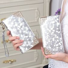 Women Long Clutch Silver Patent Leather Stone Leather Purse Coins Holder Wallet