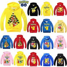 Kids Boys Girls Pokemon Pikachu Hoodies Sweatshirt Hooded Pyjama Tracksuit Tops