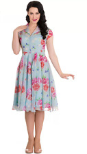 Hell Bunny 50s Chiffon Bloomsbury Blue Pink Floral Roses Dress