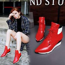 New High Top ankle boots Sneakers Womens Point Toe Lace Up Wedge Heels Shoes