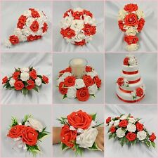 WEDDING FLOWERS BRIDE BRIDESMAID FLOWER GIRL BOUQUET WAND CORSAGE PACKAGE RED