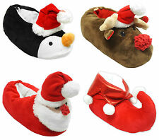 Boys Girls Christmas Novelty Santa Reindeer Penguin Elf Xmas Slippers Sizes 8-2