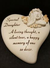 Grave memorial SON DAUGHTER SISTER BROTHER MUM DAD Heart with gold cherub Angel
