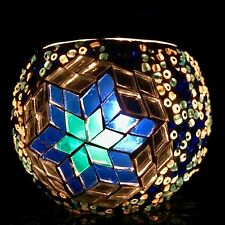 Unique Glass Mosaic Candle Holder - Blue/Yellow