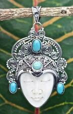 Handmade Sterling Silver.925 Bali Bone Carved Goddess Face Pendant w 3x Gems.