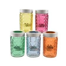 Tea Light Candle Holder Vintage Faceted Glass Jar Pot Table Decoration 5 Colours