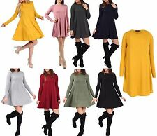 New Womens Plain Print Long Sleeve Party Swing Ladies Skater Dress Plus Size Top