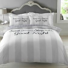 NEW Duvet Cover with Pillowcase Bedding Set Sweet Dreams Sleep Tight Grey Lilac