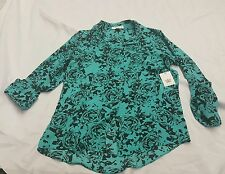 CHAUS New York Womens Top Blouse Size S Hi Low 3/4 Rolled Sleeve Semi Sheer Aqua