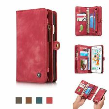 For Samsung iPhone Zipper Magnet Removable Leather Card Holder Wallet Folio Case