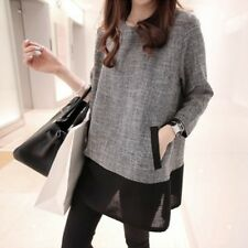 Women Chiffon  Long Sleeve Casual Slim Splicing Tunic Mini Dress