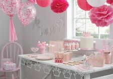 Pink & Silver Foil Glitter Princess Party Decorations Plates Napkins Banners
