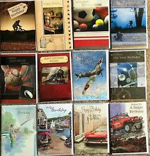 MALE BIRTHDAY CARDS,CHOICE OF 12,TOP QUALITY,SPORT,TRAINS,WAR,FISHING,4X4 (A5)