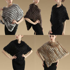 Warm Real Farms Rabbit Fur Knitted Wrap Shawls Cape Chic Star Poncho Scarf Black