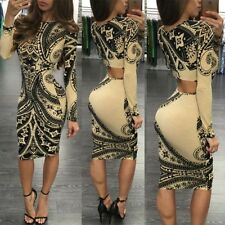 Women Autumn Long Sleeve Sexy False Bandage Cut Out Bodycon Pattern Club Dress