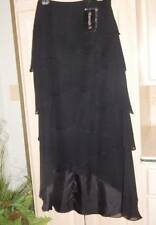 NWT Hannah S 100% Silk Long Black Tiered Skirt Formal / MOB Sz 6-8-16